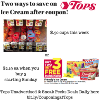 Tops Markets: Friendly Cups $.50 this week or $2.19 Friendly Novelties/Cartons starting 5/29 after coupon– print now before print ends
