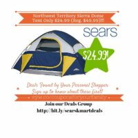 Sears Retail Deals: Northwest Territory Sierra Dome Tent Only $24.99 (Reg. $49.99)