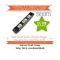 Sears Retail Deals: Craftsman 9 in. Magnetic Torpedo Level Only $5.99 (Reg. $11.99)