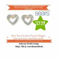 Sears Retail Deals: Gold over Sterling Silver Diamond Accent Heart Stud Earrings Only $19.99 (Reg. $119.99)