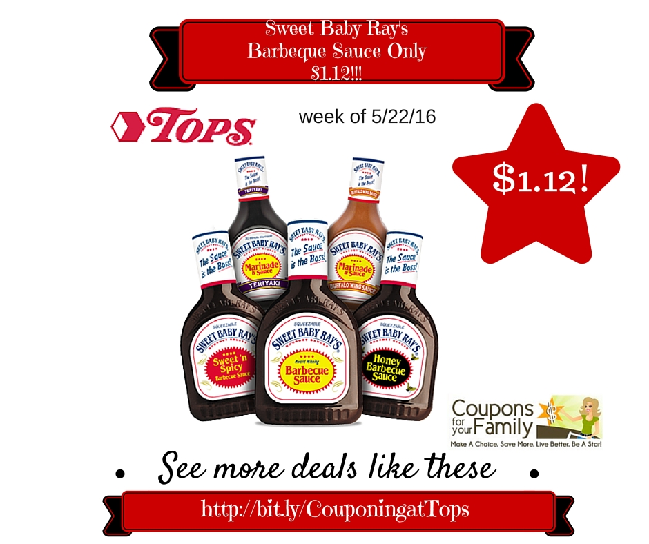 248675c2f31298 Tops Coupon Deal  Sweet Baby Ray s Barbeque Sauce Only  1.12