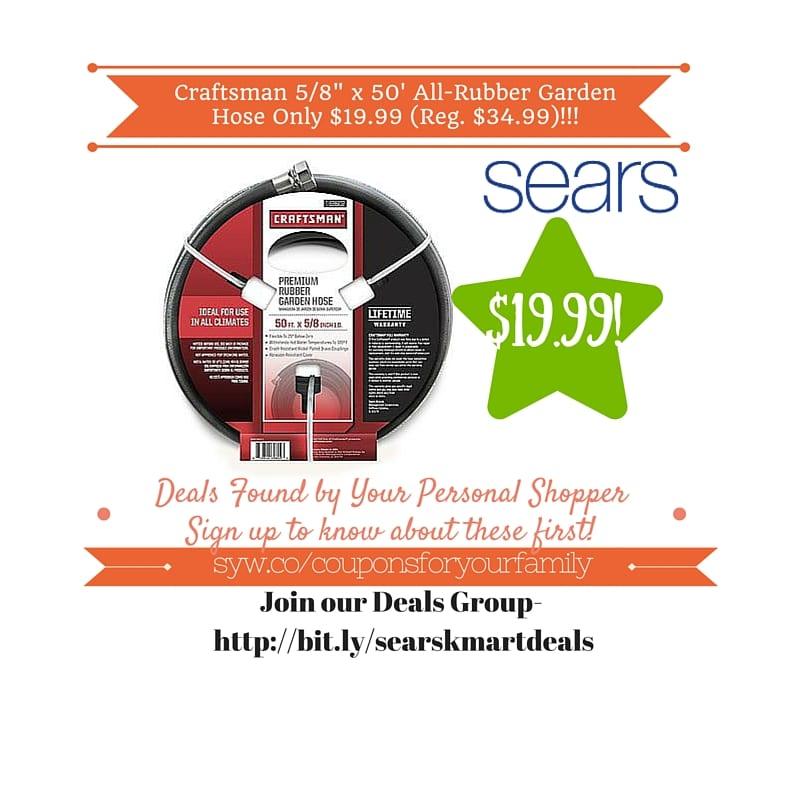 Sears Retail Deals Craftsman 58 x 50 AllRubber Garden Hose Only
