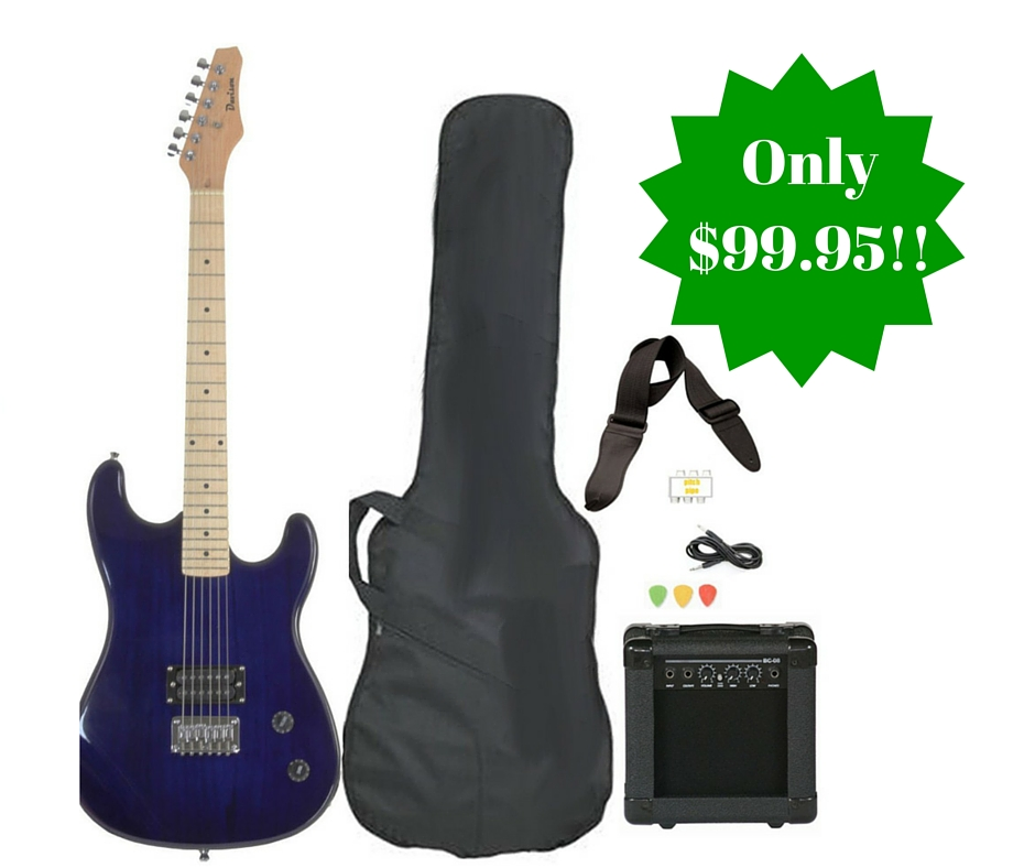 full size blue electric guitar with amp case and accessories starter package only shipped. Black Bedroom Furniture Sets. Home Design Ideas