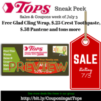Tops SNEAK PEEK Deals starting Sunday July 3 – Free Glad Cling Wrap, $.25 Crest Toothpaste, $.44 Bar S Franks, $.50 Febreze, $.58 Pantene, $.85 Bugles/Chex Mix and tons more