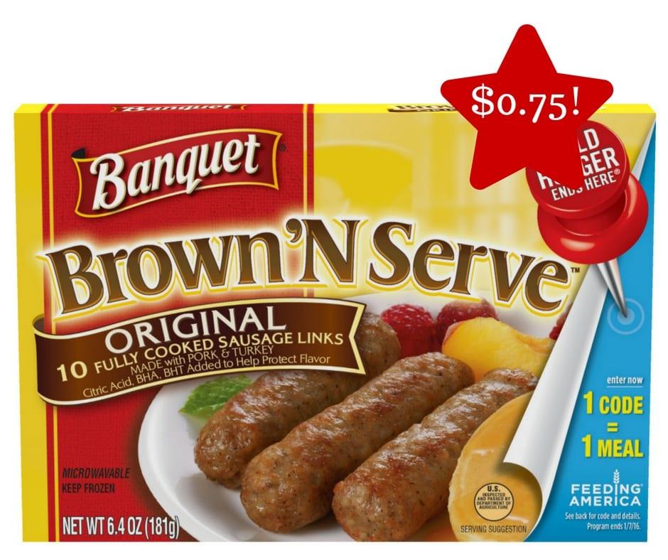 banquet brown n serve breakfast sausage links only 0 75
