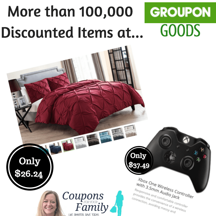 Save 25% on your first Groupon Goods order for items like XBox Controllers ($37.49), Duvet Sets ($18.74), Designer Items and tons more