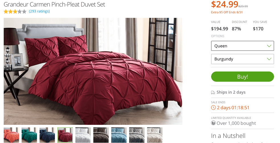 Groupon Goods Pinch Pleat comforter