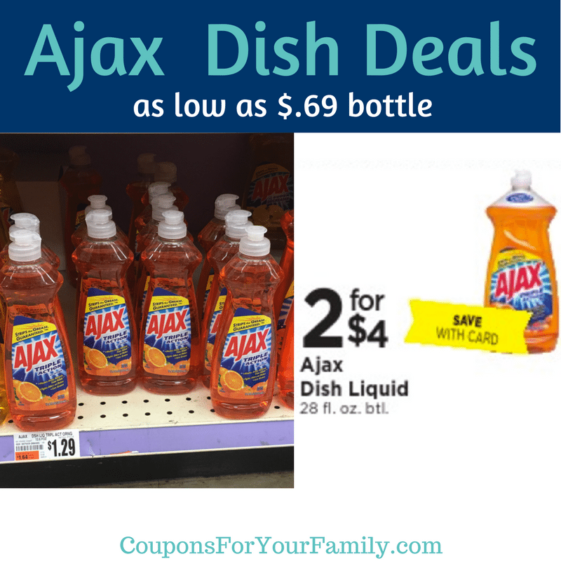 Tops Markets Ajax Liquid Dish Soap as low as $.69 for 12 oz or $.90 for 28 oz!!