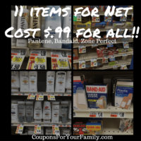 Tops Markets Coupon Deal on Pantene, BandAids and Zone Perfect for 11 items for $.99!!