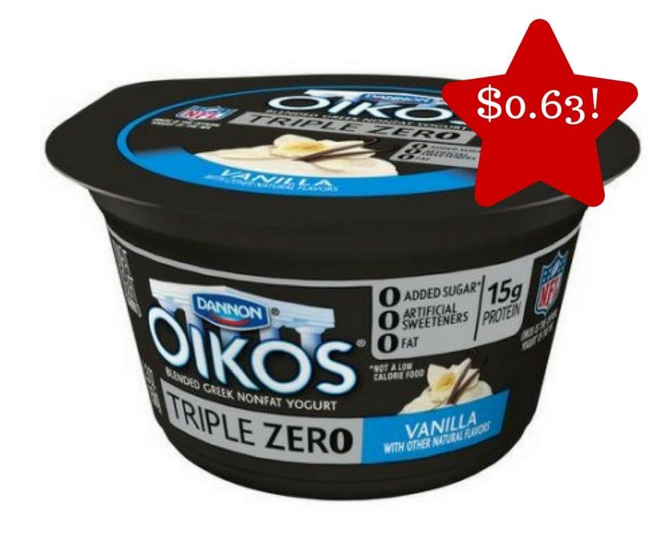 Tops: Dannon Oikos Triple Zero Yogurt Only $0.63