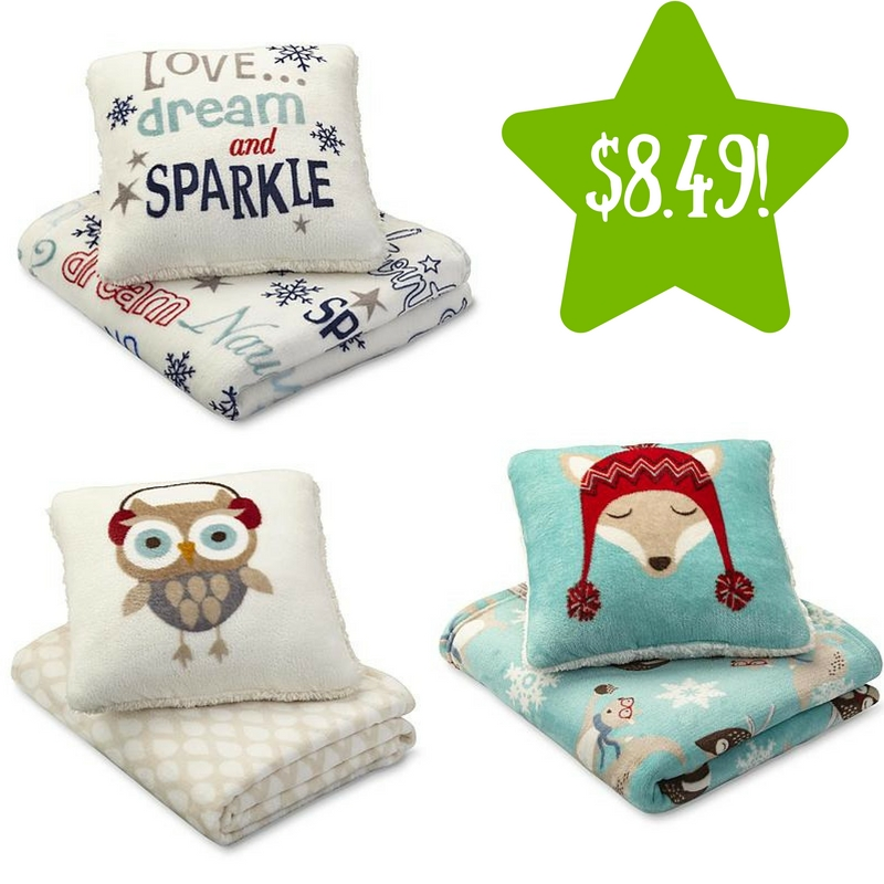 Sears: 2-Piece Cannon Plush Pillow & Throw Gift Set Only $8.49 (Reg. $25)