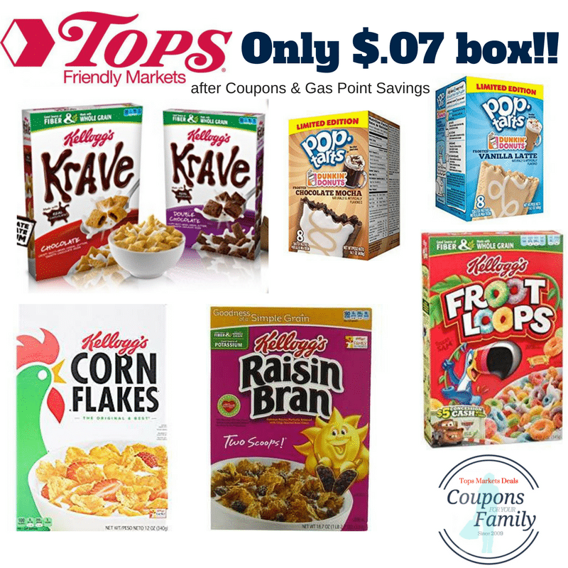Tops Markets Kelloggs Cereal Sale: Get as low as $.07 per box after coupons & Gas points!!!!