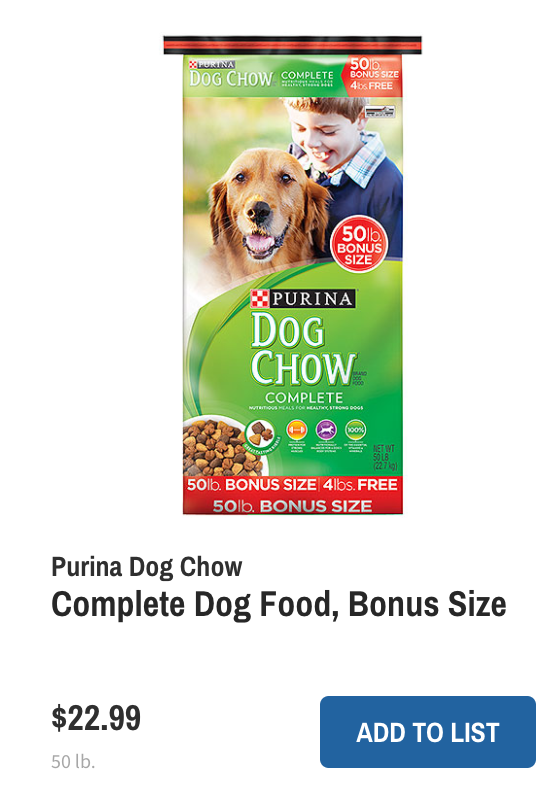 Wegmans Deals Dog CHow