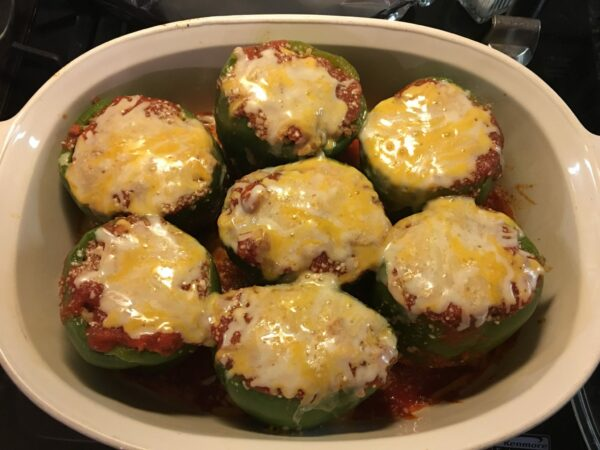 stuffed pepper out of oven