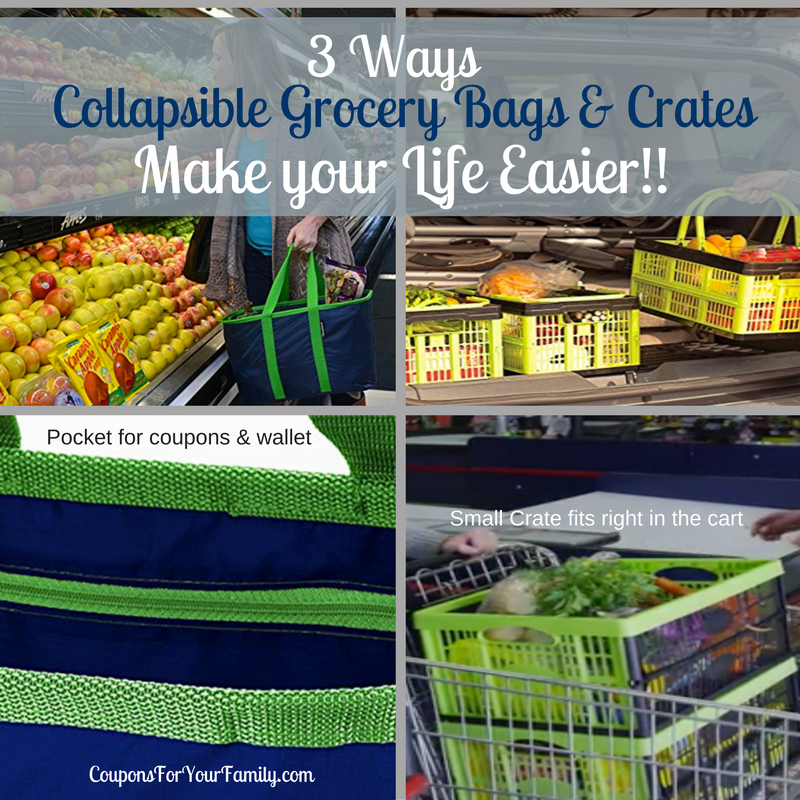 3 Ways Reusable Grocery Bags & Collapsible Crates can make life easier!!!