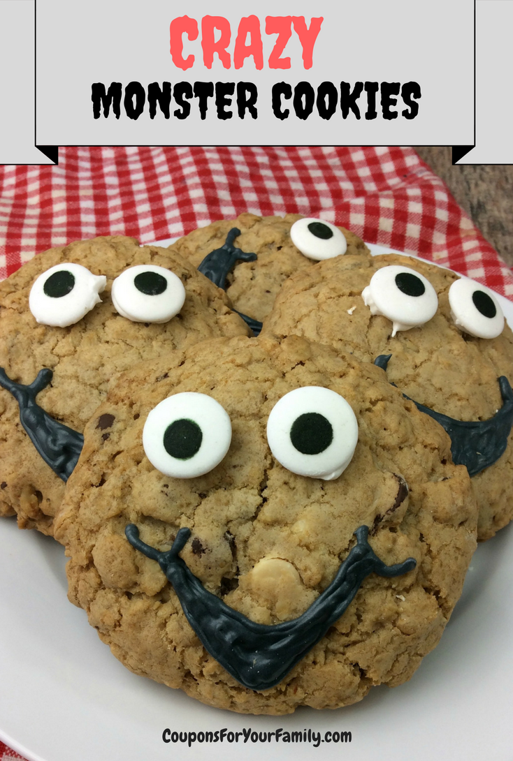 CRAZY Monster Cookies:  Tasty Oatmeal Cookie Recipe with 3 Chips