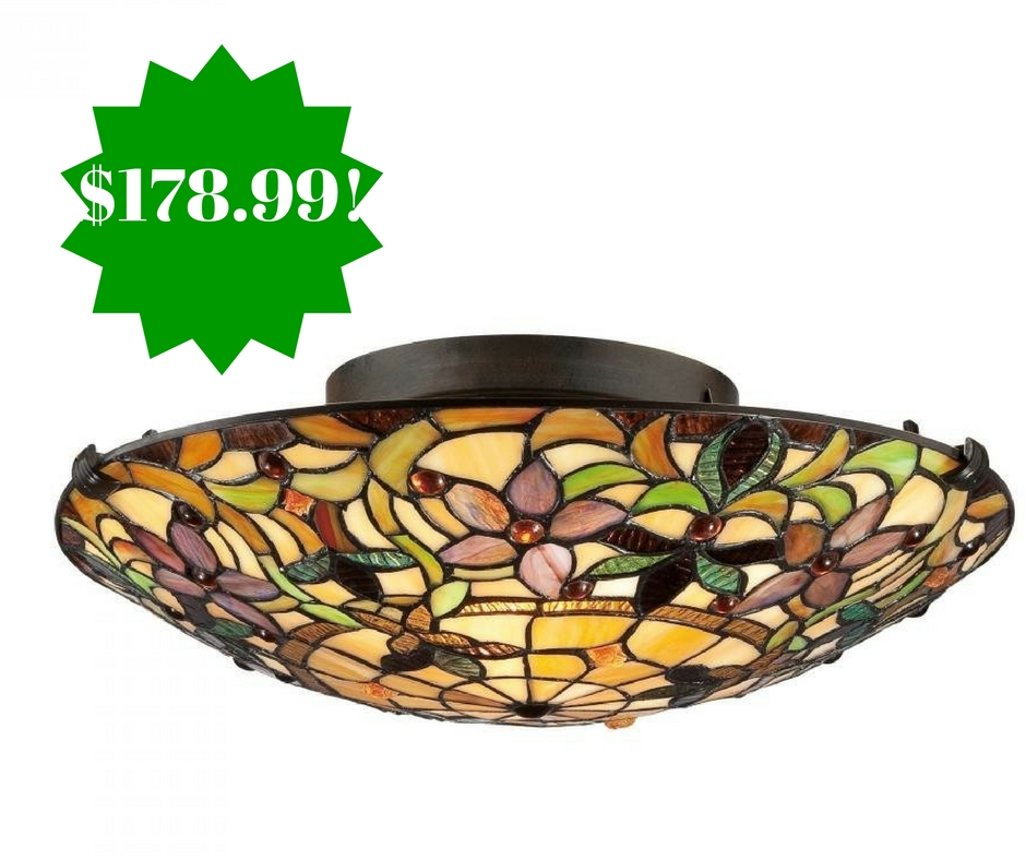 Amazon: Tiffany Round Glass Flush Mount Ceiling Lighting Only $178.99 Shipped