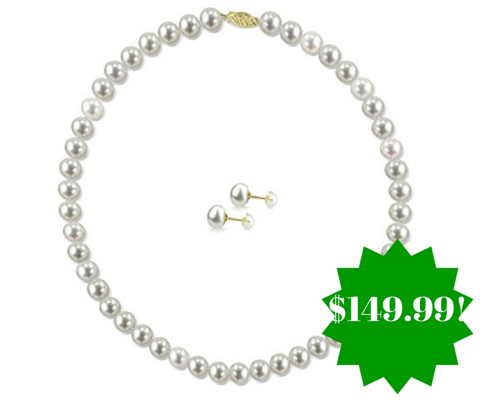 Amazon: 14k Gold White Pearl Necklace 18″ and Stud Earrings Set Only $149.99 Shipped (Reg. $250)