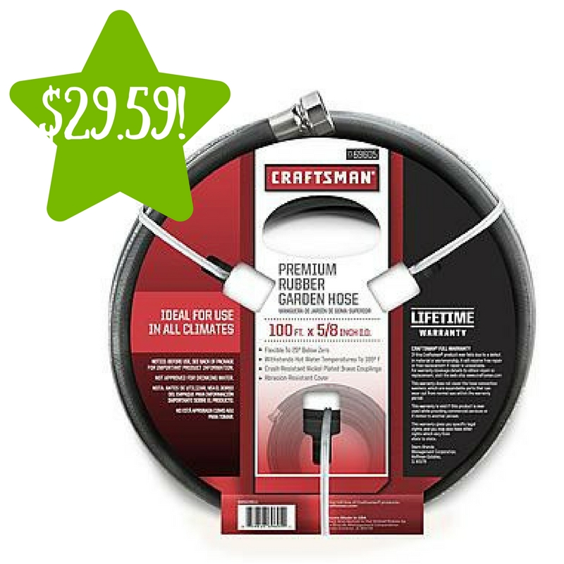 Sears: Craftsman 69605 100′ x 5/8″ All-Rubber Hose Only $29.59 (Reg. $62)