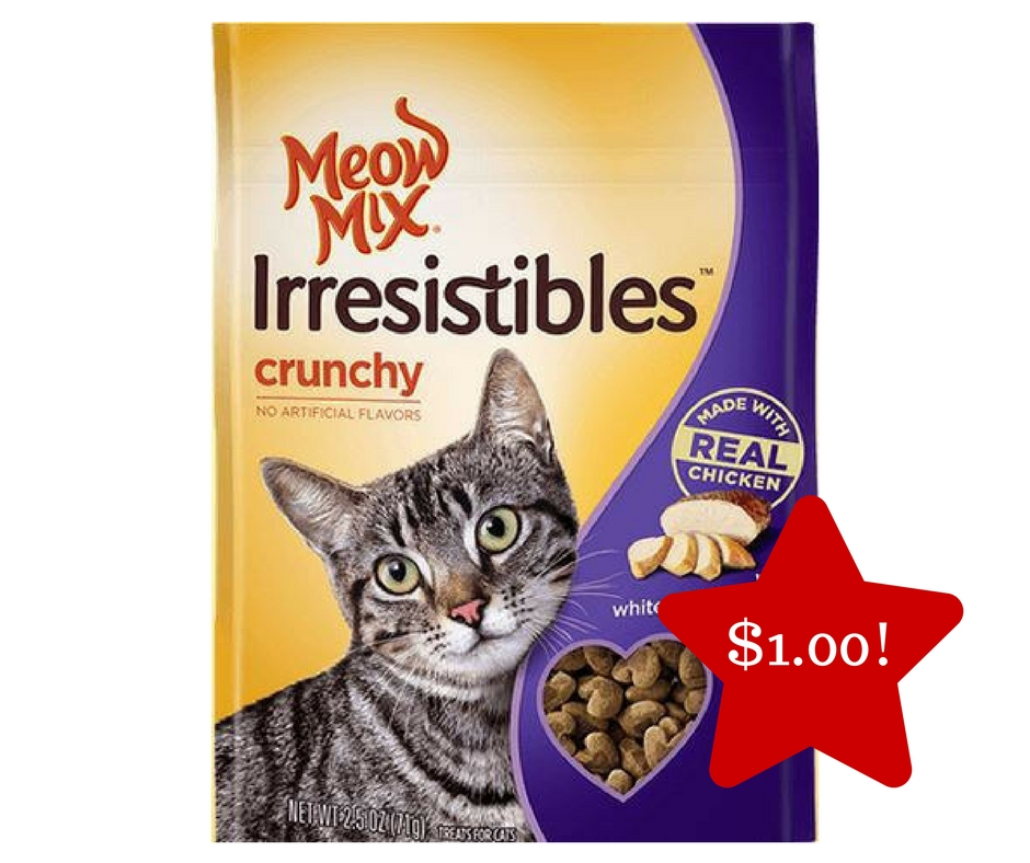 Tops: Meow Mix Irresistibles Cat Treats Only $1.00