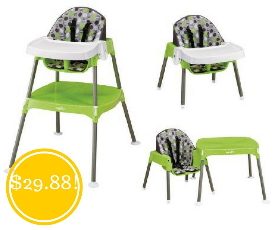 Walmart: Evenflo Convertible Dottie Lime High Chair Only $29.88 (Reg. $60)