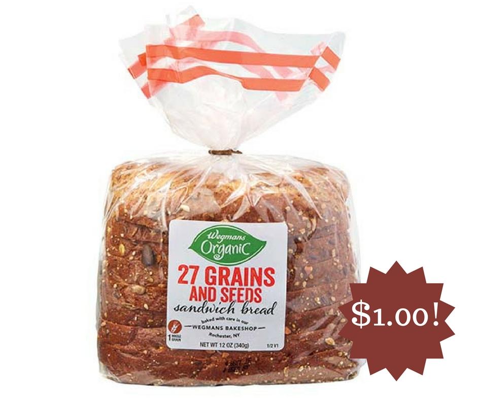 Wegmans: Wegmans Organic Soft 27 Grains & Seeds Sandwich Bread Only $1.00