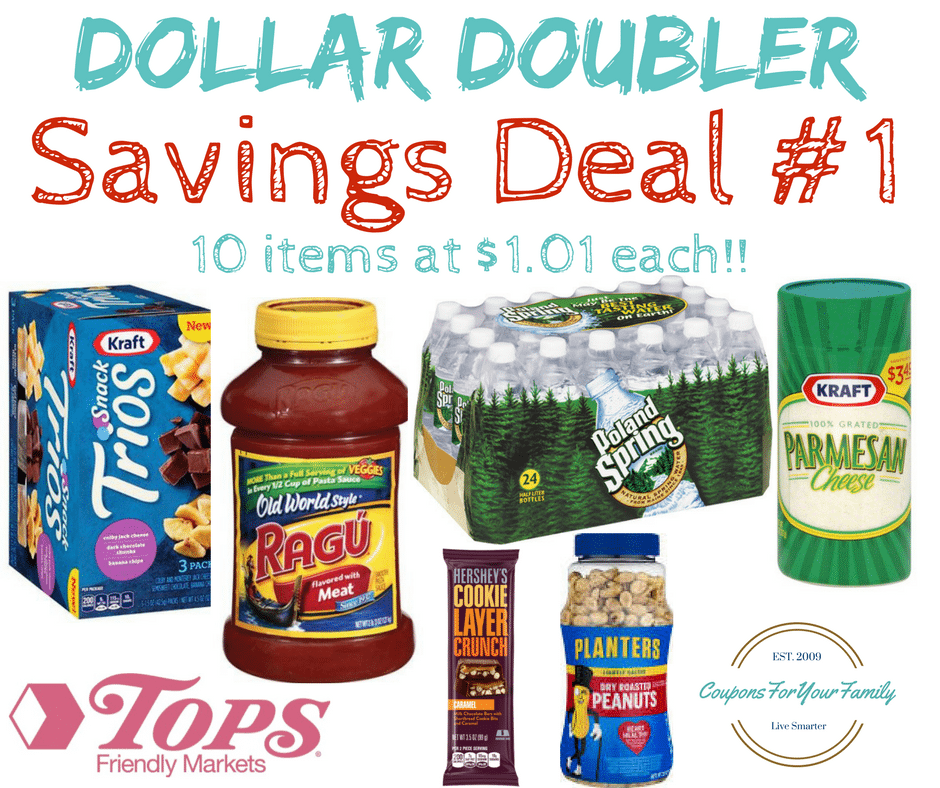 Tops Markets Dollar Doubler Deal #1 – 10 items inc Bottled Water, Kraft Parmesan, Ragu, Planters Peanuts and more for only $1.01 each!!!