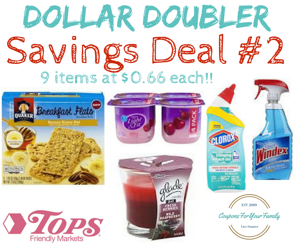 Tops Markets Dollar Doubler Deal #2: 9 items for only $.66 each- inc Quaker Flats, Windex, Glade Candles, Clorox Toilet & Dannon Yogurt!!