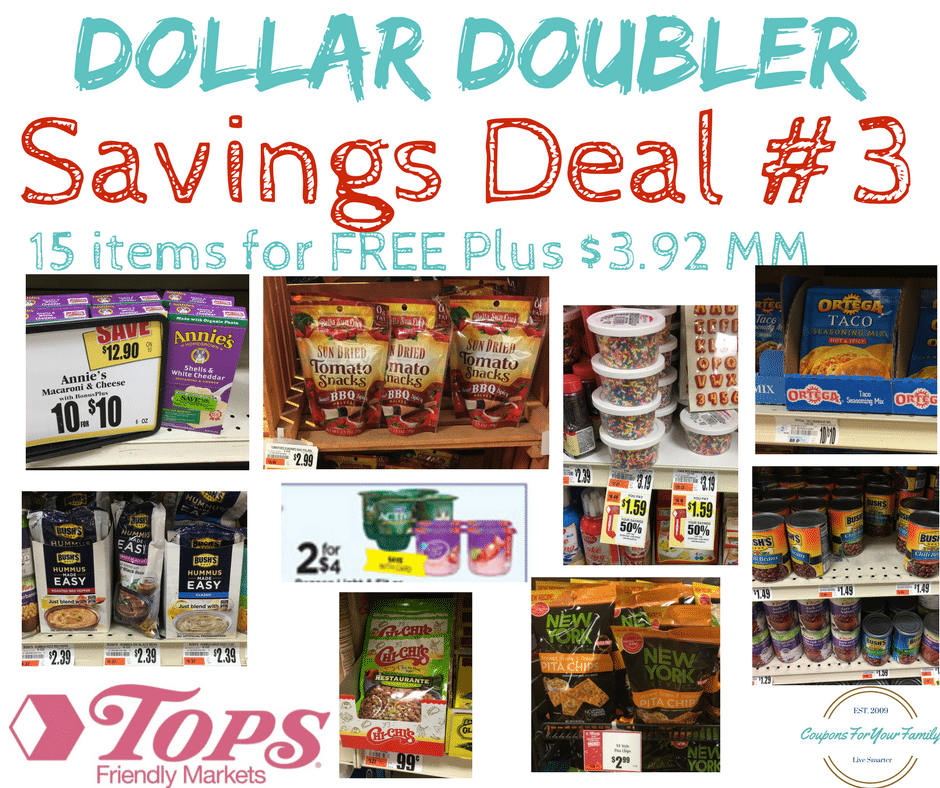 Tops Markets Dollar Doubler Deal #3: 15 items for FREE plus $3.92 Moneymaker!!!