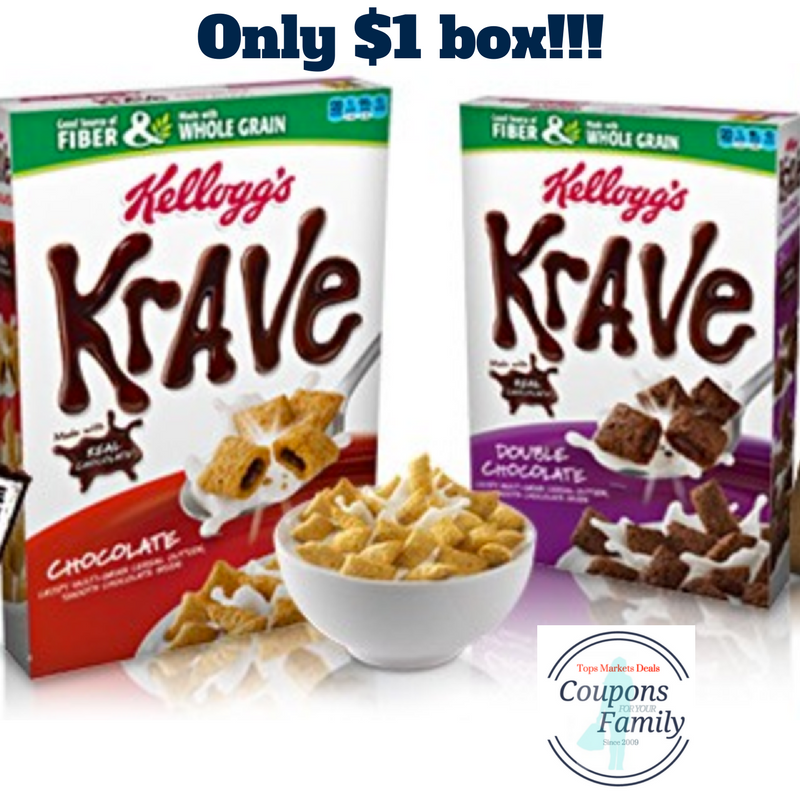 Krave Cereal Coupon makes for $1 box at Tops Markets this week!