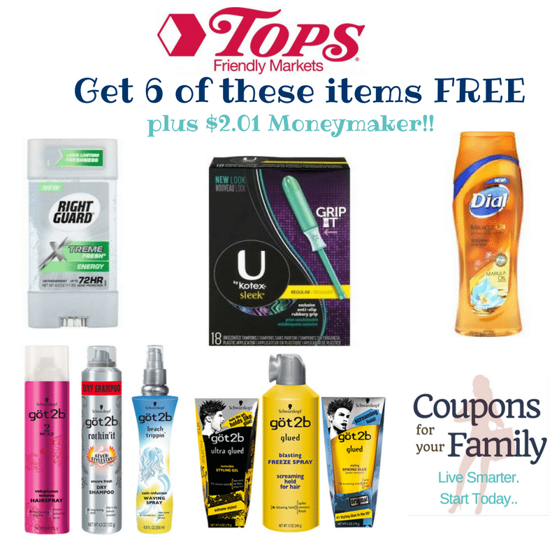 Tops Markets Health & Beauty Combo #1:  Free Kotex Tampons, Got2b Stylers, Dial Body Wash & Right Guard Deodorant plus $2.01 moneymaker!!