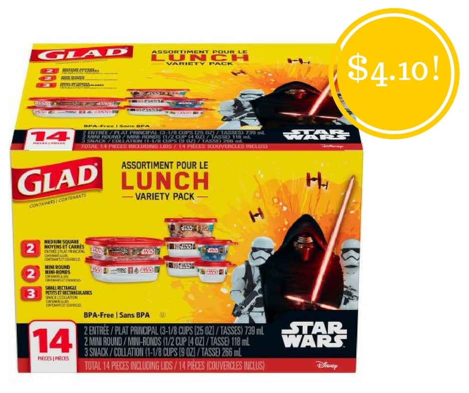 Walmart: Glad Lunch Variety Pack Star Wars Food Storage Containers Only $4.10