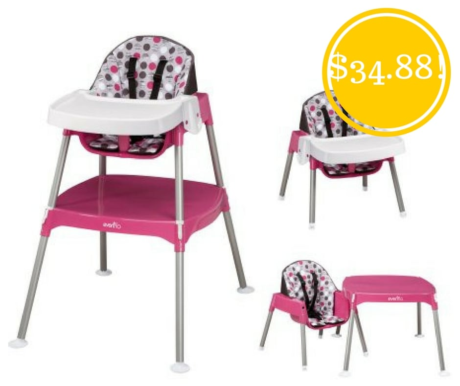 Walmart: Evenflo Dottie Rose Convertible High Chair Only $34.88 (Reg. $60)