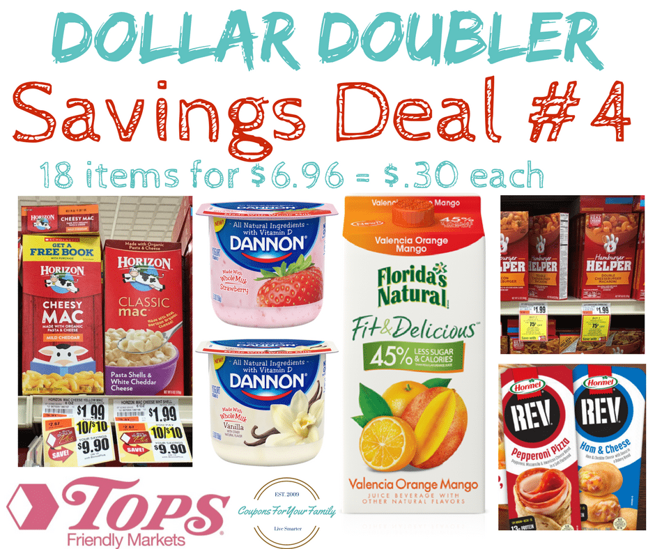 Tops Markets Dollar Doubler Deal #4: 18 items for $.30 each including Florida OJ, Mac & Cheese, Hamburger Helper, Yogurt & more