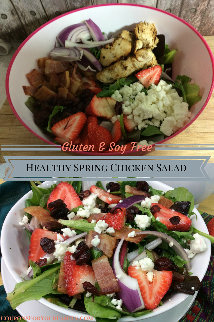 Gluten Free Healthy Chicken Salad with Spinach, Feta, Fruit and Bacon