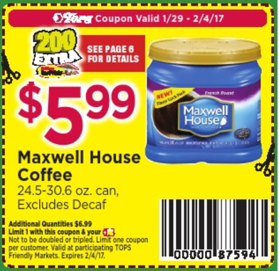 Tops Coupon Deal Maxwell House
