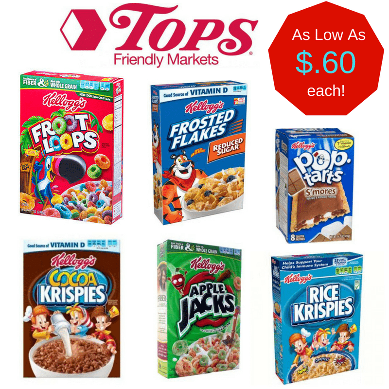 Tops Markets Kelloggs Cereal Sale: get 5 cereals for as low as $3 or $.60 each!!