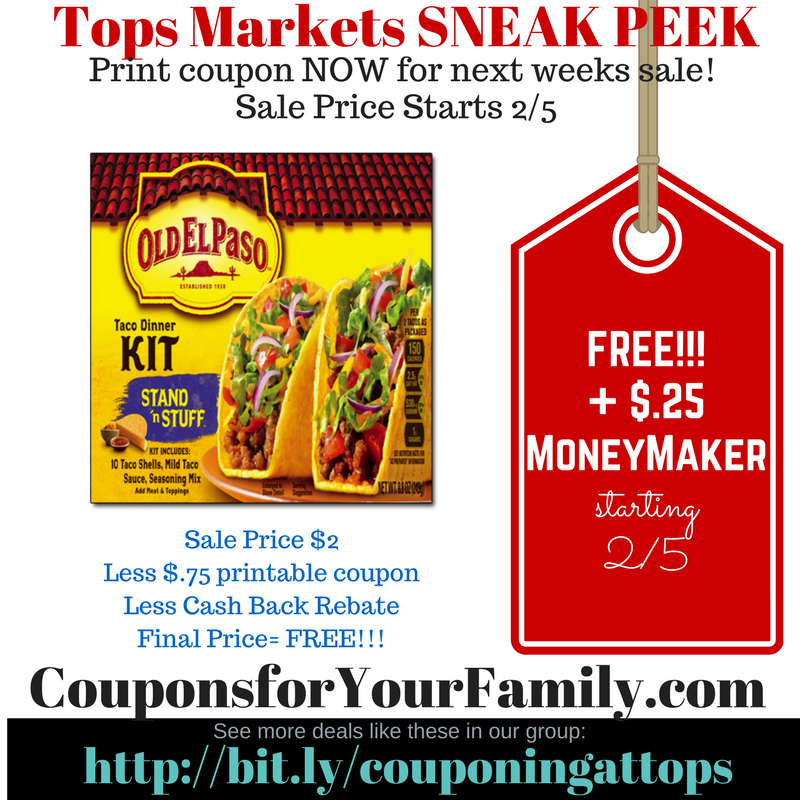 Tops Markets: FREE Old El Paso Stand N Stuff Tacos FREE starting 2/5