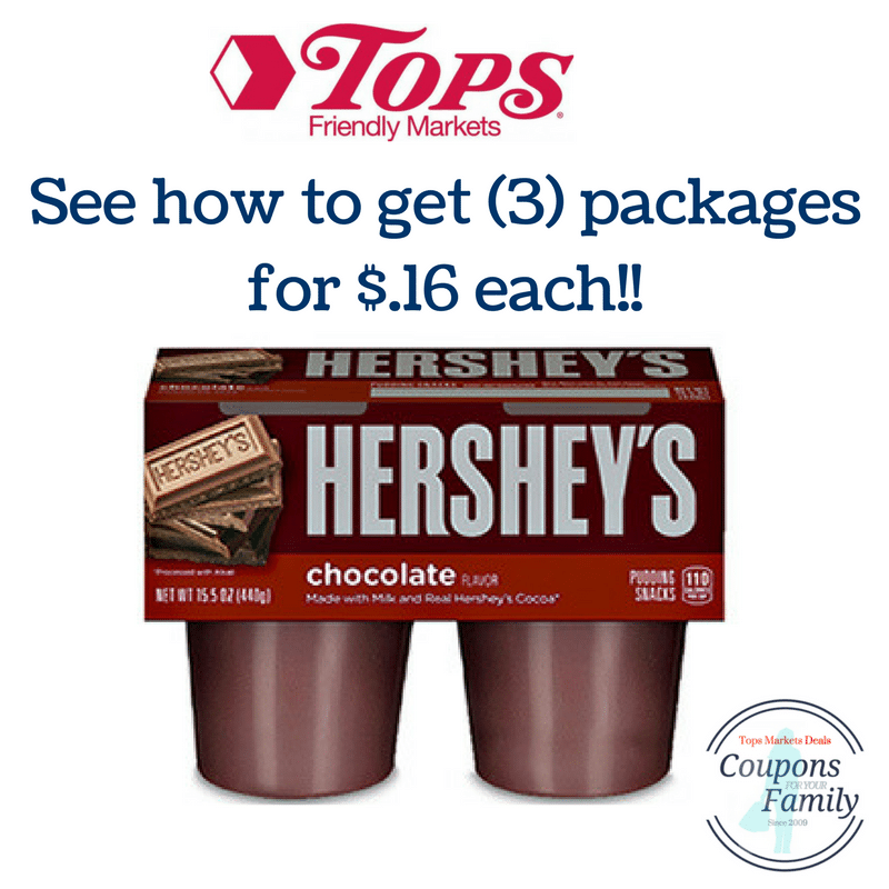 Another Tops Coupon Deal Hershey Pudding 4 pk for $.16 each