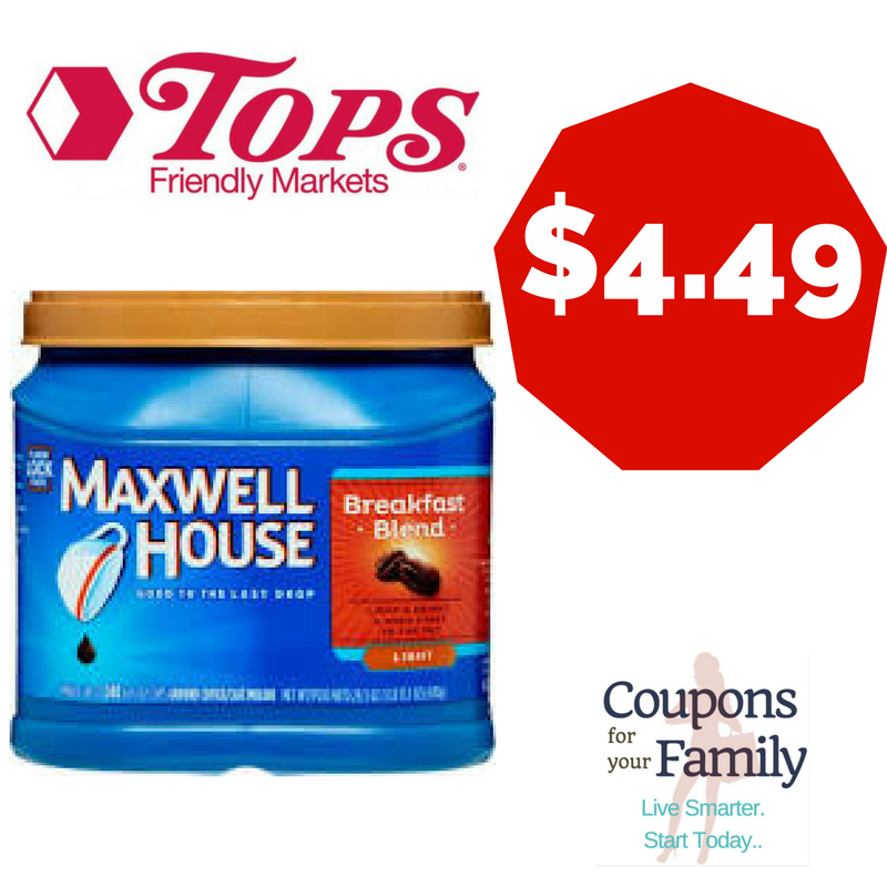 **HOT** Tops Coupon Deal Maxwell House Coffee only $4.49!!!
