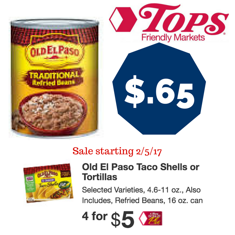 Sneak Peek Tops Coupon Deal Old El Paso Refried Beans starting 2/5- only $.65!!!