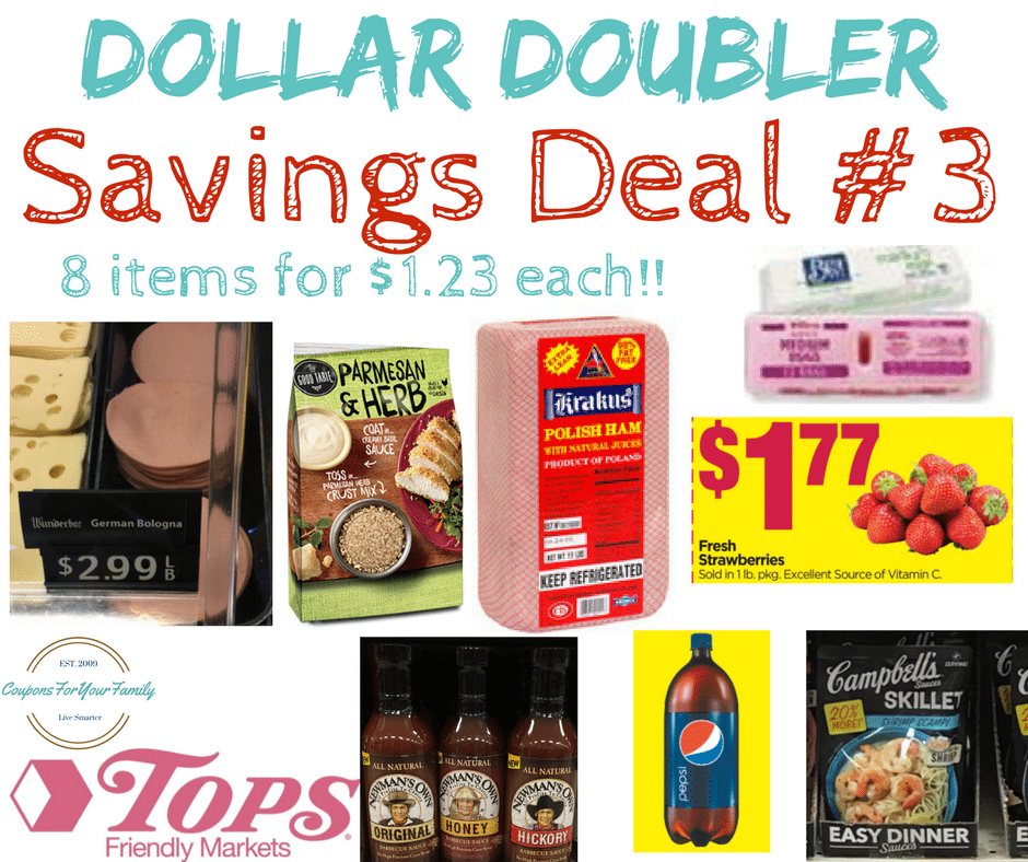 Tops Markets Dollar Doubler Deal #3: Pay $1.23 each for 8 items- Fresh Strawberries, Deli Meat, Eggs, Seasonings & BBQ sauce!!