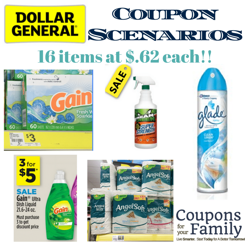 Dollar General Coupon Scenario Saturday 3/18 only: 16 items for only $.62 each!!