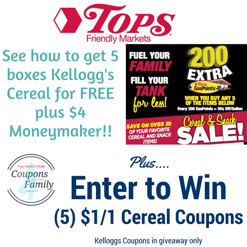 Tops Markets Kelloggs Cereal Sale: Get 5 Free Cereals plus Moneymaker Deal AND enter to win (5) Kelloggs $1/1 coupons!!!
