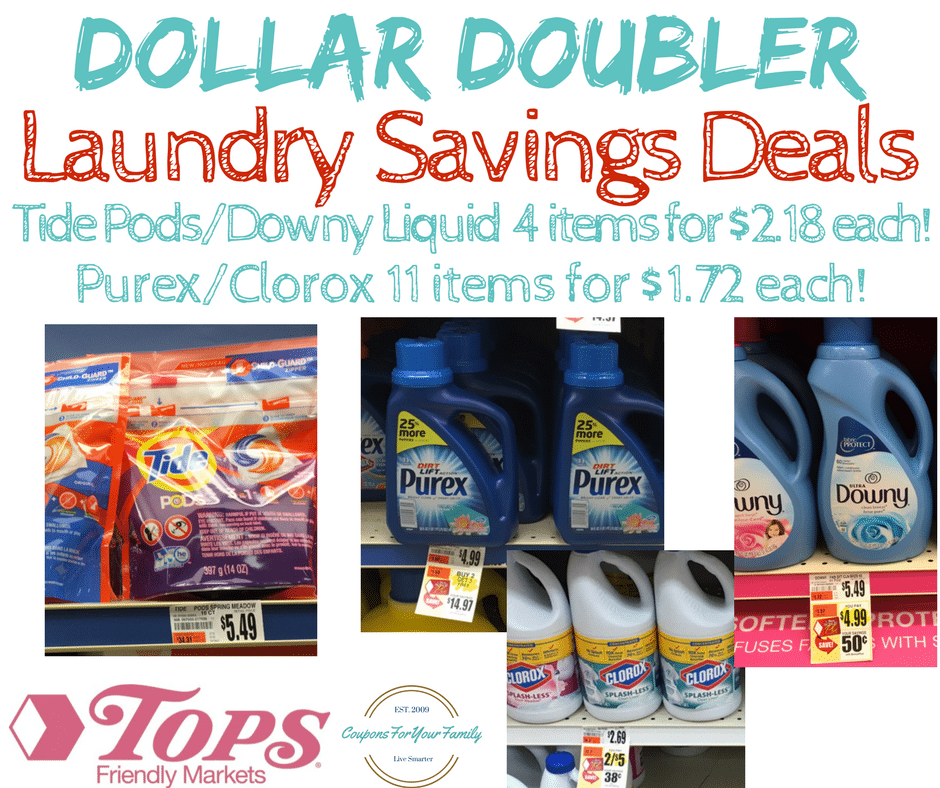 Tops Markets Dollar Doubler Deal Laundry Stockup- Tide & Downy for $2.18 & Purex/Clorox for only $1.72 each!