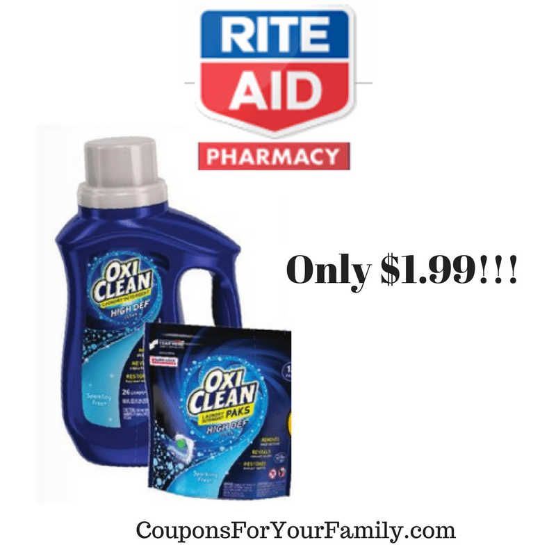 RiteAid Coupon Deal OxiClean Laundry Detergent only $1.99!!