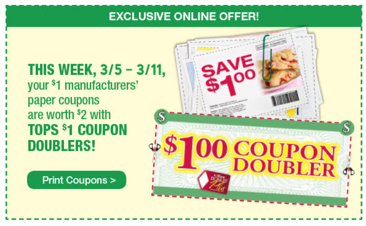 SURPRISE– Tops Markets has Online Dollar Doublers starting 3/5!!!- Print yours here