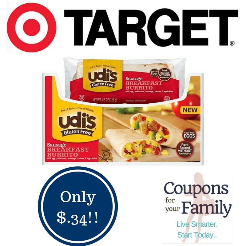 Target: Udi's Gluten Free Burritos Only $0.34