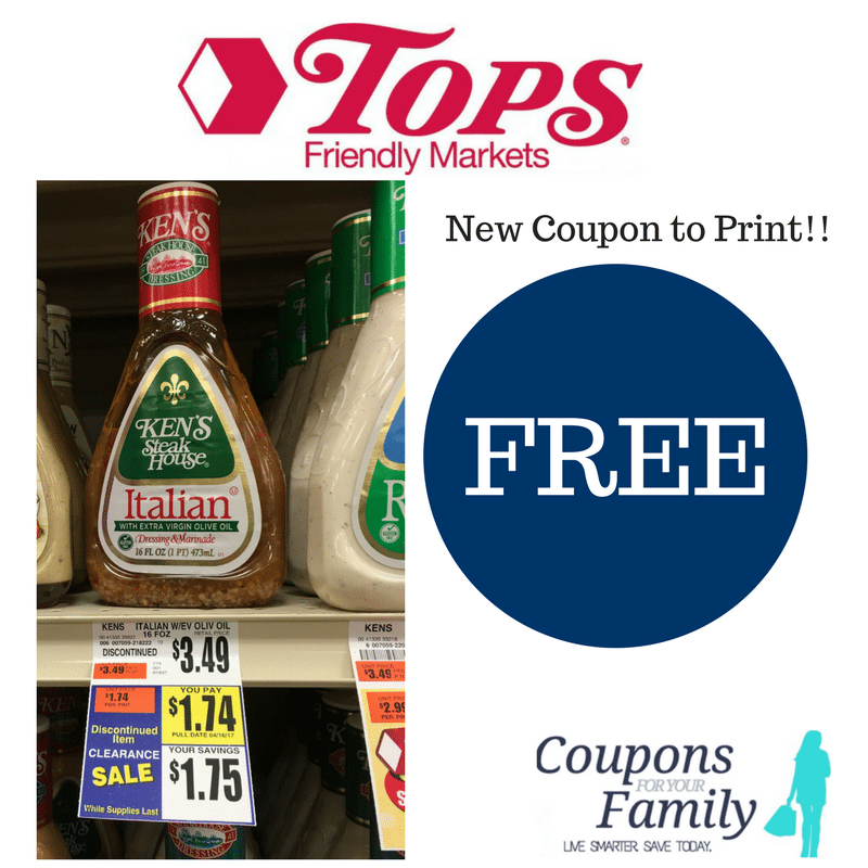 New Coupon- Print Now for Tops Markets Kens Dressing Deal for FREE plus $.51 MM!!