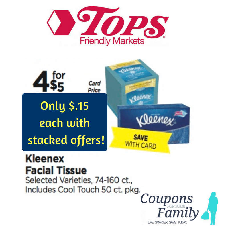 **WOW** Tops Markets Coupon Deal Kleenex ~~ only $.15 per box!!